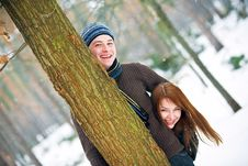 Couple In Love In Forest Stock Photos
