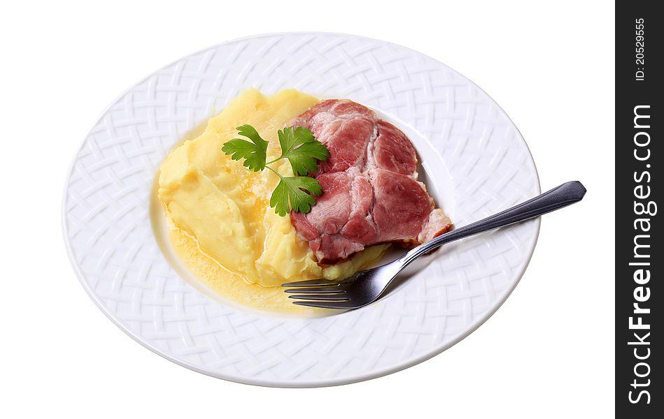 Mashed potato and smoked pork