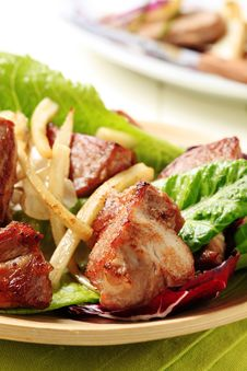 Free Pan Roasted Pork And Lettuce Royalty Free Stock Photo - 20530875