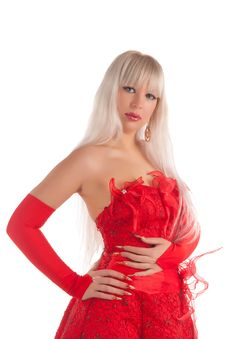 Free Glamour Girl In Red Dress Stock Images - 20533324