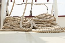 Free Rope Rigging On A Sailboat Deck. Stock Image - 20533451