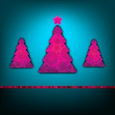 Christmas Trees Card Template. EPS 8 Stock Images