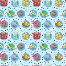 Free Cartoon Aquarium Animal Seamless Pattern Royalty Free Stock Photos - 20537508