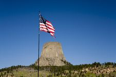 Free Flag Waving By Devils Tower. Royalty Free Stock Photography - 20537537