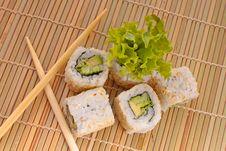 Free Sushi With Chopsticks Royalty Free Stock Photos - 20538418