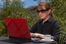 Free Smiling Business Woman Working On Laptop. Royalty Free Stock Photos - 20538678