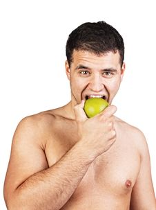 Free Portrait Of A Man Eating An Apple Stock Photography - 20539122
