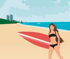 Free Beautiful Surfer Girl Stock Images - 20539234