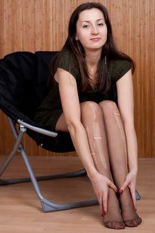 Free Sad Pensive Girl In Torn Tights Stock Photo - 20539990