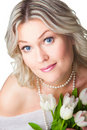 Free Close-up Portrait Of Blonde Woman With Tulipson Is Royalty Free Stock Photography - 20547737