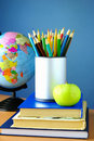 Free Globe, Pencils And Apple On The Table Royalty Free Stock Photos - 20548548