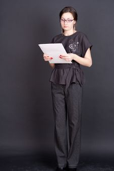 Free Businesswoman With Documents In Hand With Glasses Royalty Free Stock Image - 20540156