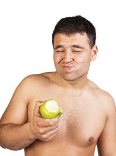 Free Portrait Of A Man Eating An Apple Stock Image - 20540391