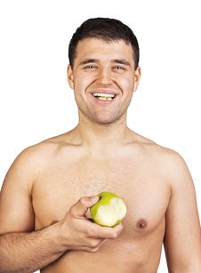 Free Portrait Of A Man Eating An Apple Stock Photo - 20540410