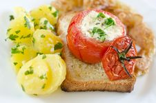 Toast With Fresh Vegetables Royalty Free Stock Images