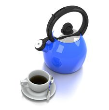 Free Blue Kettle And White Porcelain Coffee Cup Royalty Free Stock Photo - 20542195