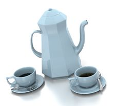 Free Light Blue Coffee Set Royalty Free Stock Photography - 20542197