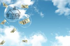 Free Dollars Falling On The Bubbles From The Sky Stock Image - 20543271