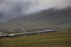Tran-Alaska Pipeline With Fog Stock Photos