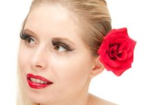Blong Woman With Rose Isolated Stock Image