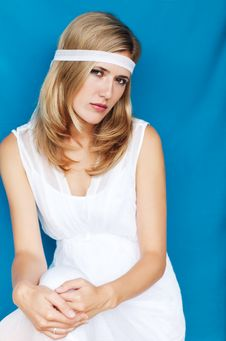 Woman In A White Dress Stock Photo