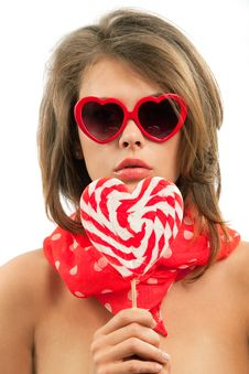 Free Sexy Woman With Heart Shaped Lollipop Stock Photography - 20546212
