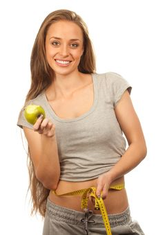 Free Charming Woman Holding Apple Stock Images - 20546214
