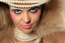 Free Girl With A Professional Makeup And Pearl Beads Stock Photo - 20546460