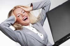 Business Woman Working On Laptop Stock Images