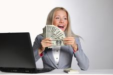 Free Business Woman Dollar In Hands Royalty Free Stock Image - 20547196