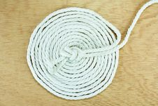 White Rope Coiled Stock Photo