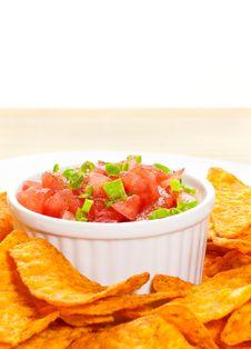 Free Bowl Of Salsa And Fresh Nachos Royalty Free Stock Photos - 20547398