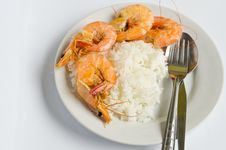 Baked Shrimp With Rice On White Dish Royalty Free Stock Images