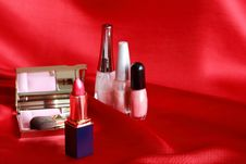 Free Makeup Set On Red Royalty Free Stock Images - 20547589