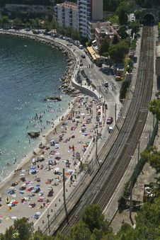 Free Aerial View Of Beach And Railway Stock Photos - 20547603