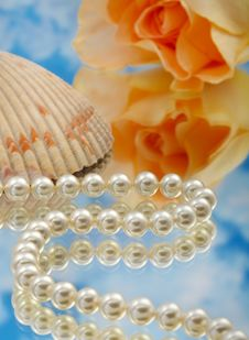 Free Elegant Pearls Over Glass With Cloudshal Royalty Free Stock Photos - 20548298