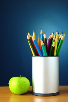 Pencils In Plastic Cup Stock Image