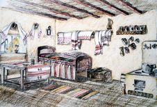 Romanian House Interior Sketch