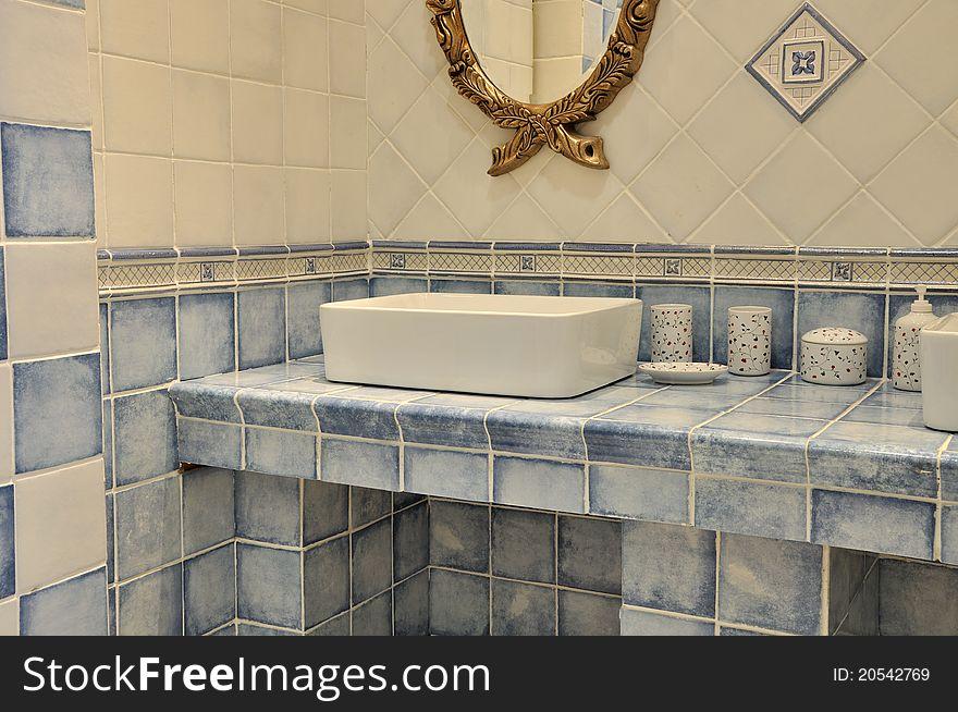 Blue washroom interior