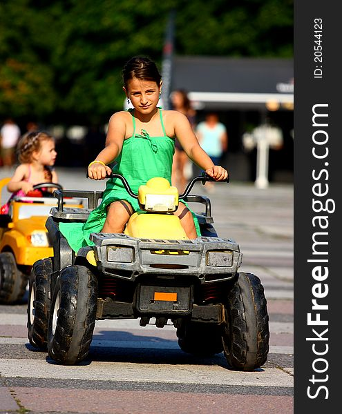 Little girl driving