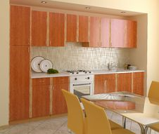 Free Wooden Modern Kitchen. Royalty Free Stock Photos - 20550068