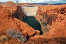 Downstream View Of The Glen Canyon Dam, Utah Stock Photography
