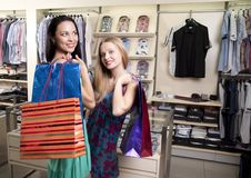 Free Two Stylish Women With Paperbags Meet In Mall Stock Photo - 20551160