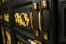 Golden Door Holders At Chino Portugese House Royalty Free Stock Photo