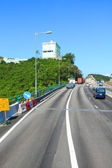 Free Highway In Hong Kong At Day With Moving Cars Royalty Free Stock Images - 20552319