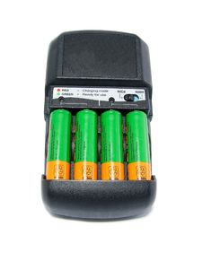 Free Charger With Batteries Isolated On White Royalty Free Stock Photo - 20552865