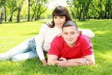 Young Couple In The Park Stock Photos