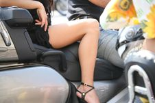 Free Biker Girl S On Motorcycle Resting - Hand And Leg Royalty Free Stock Image - 20553566