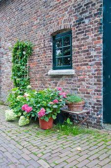Sidewall Of An Old Dutch Farmhouse Royalty Free Stock Image