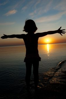 Free Kid On Sunset Beach Stock Image - 20554941